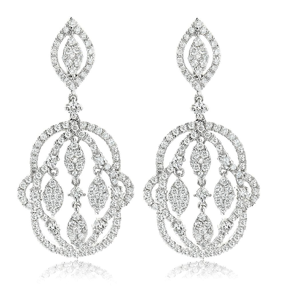 Designer Chandelier Diamond Earrings for Women by Luxurman 2.5ct 14K Gold