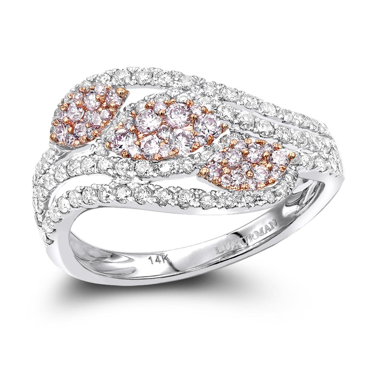Designer Cocktail Rings 14K Gold White Pink Diamond Leafs Ring for Women 1c