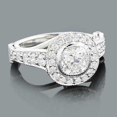 Designer Cushion Cut Diamond Engagement Ring 1.7ct Platinum Halo