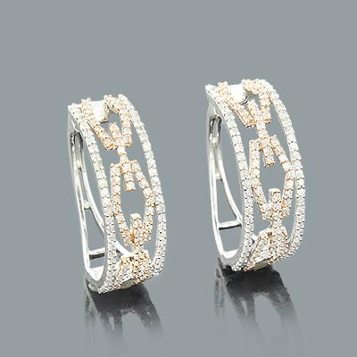 Designer Cutout Diamond Hoop Earrings 0.82ct 14K Gold