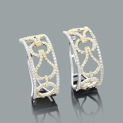 Designer Cutout Diamond Hoop Earrings 0.96ct 14K