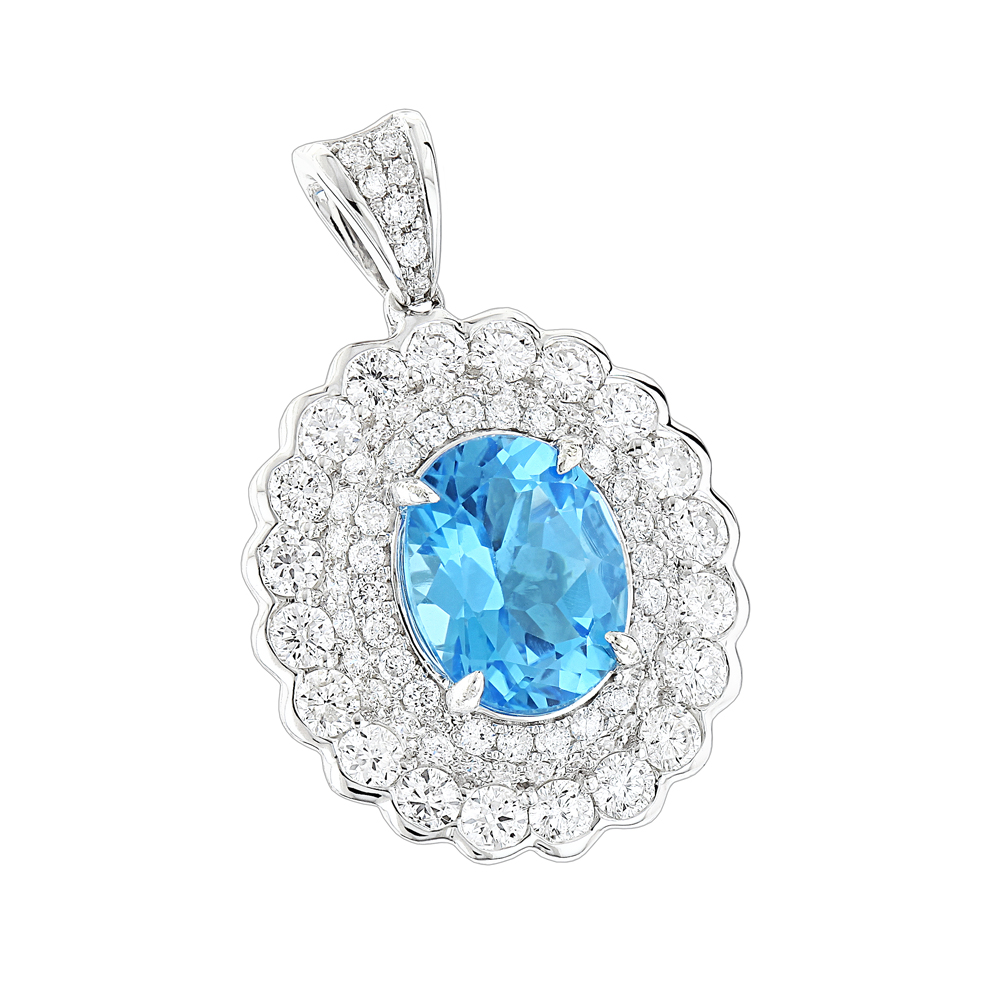 Designer Diamond Blue Topaz Pendant for Women by Luxurman 1.9ct 14K Gold