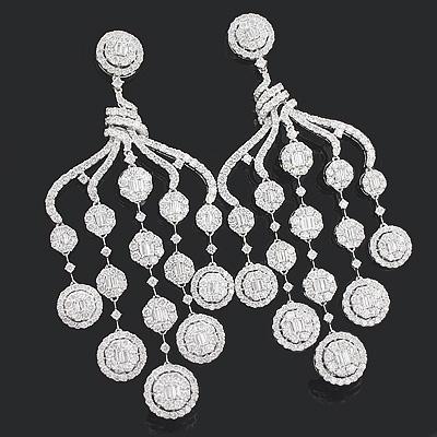 Designer Diamond Chandelier Earrings 15.88ct 18K Gold