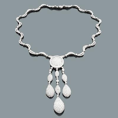 Designer Diamond Chandelier Necklace 18.45ct 18K Gold