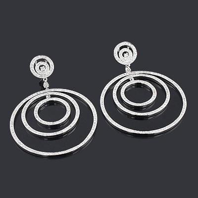 Designer Diamond Circle Earrings 5.23ct 18K Gold