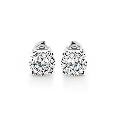 Designer Diamond Cluster Earrings 0.83ct 14K Gold Studs