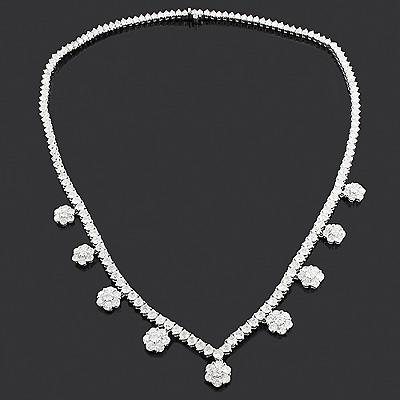 Designer Diamond Cluster Necklace 17.96ct 18K Gold