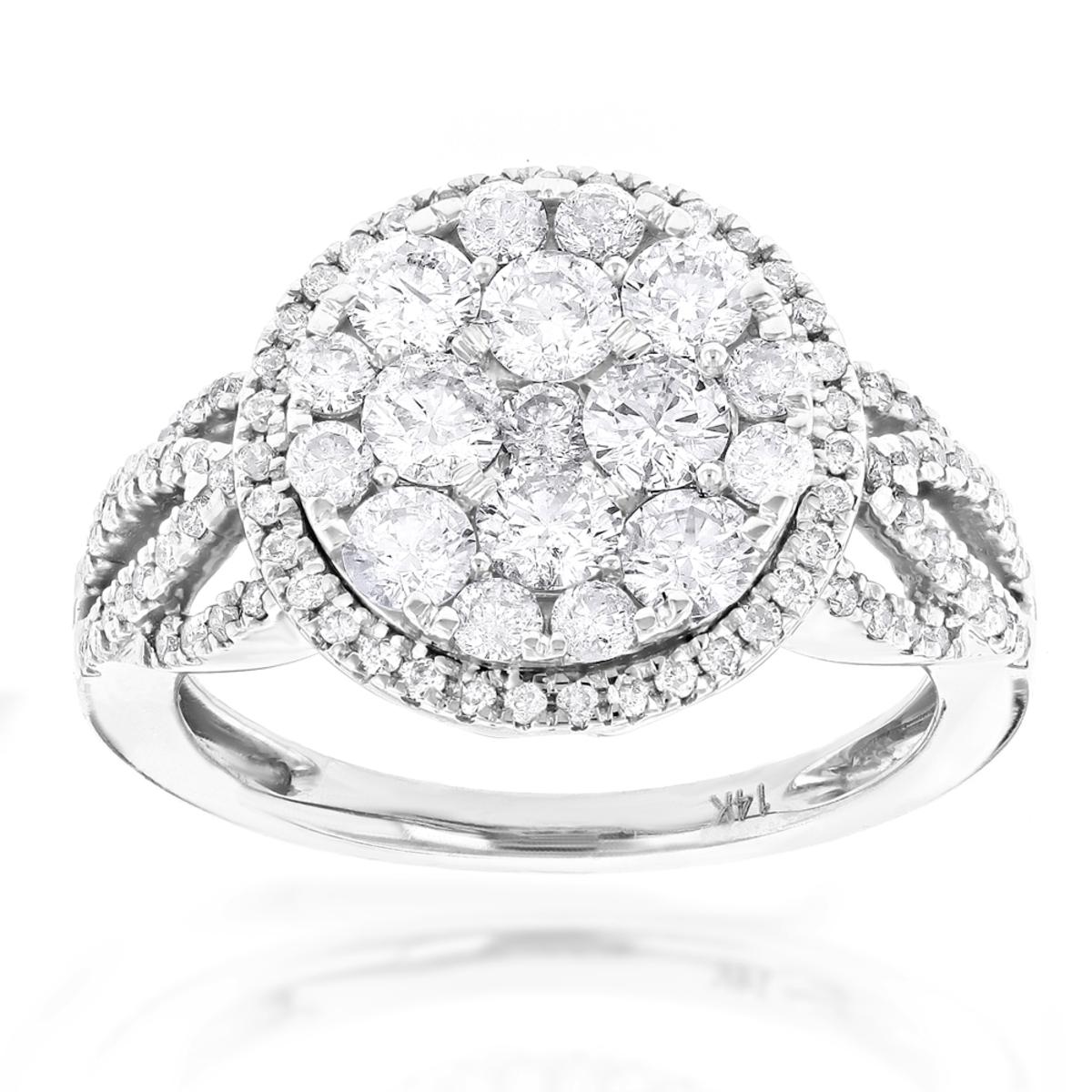Designer Diamond Cluster Ring 1.89ct Unique Engagement Rings