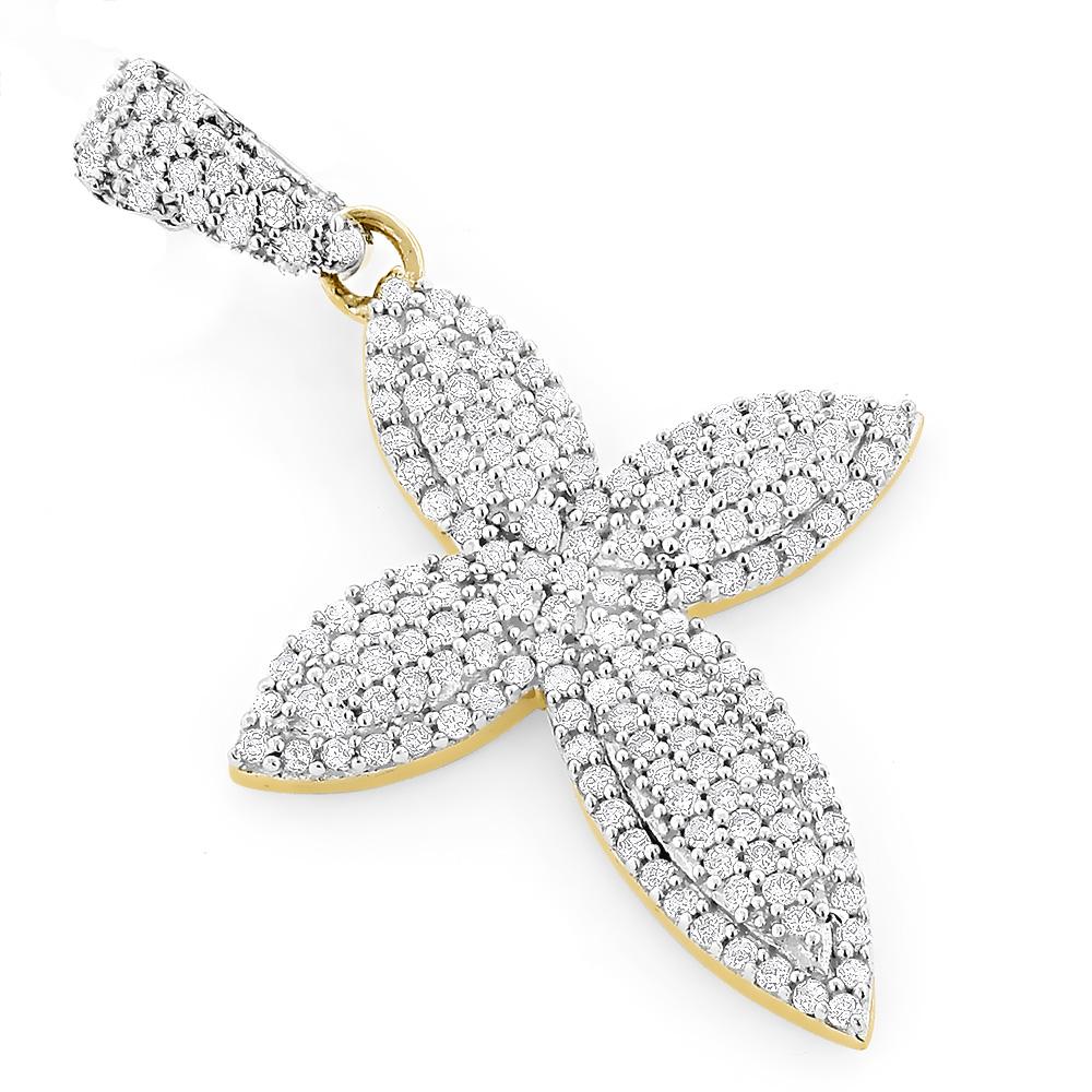 Designer Diamond Cross Pendant 14K Gold 0.62ct