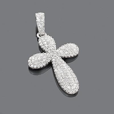 Designer Diamond Cross Pendant 14K 0.63ct