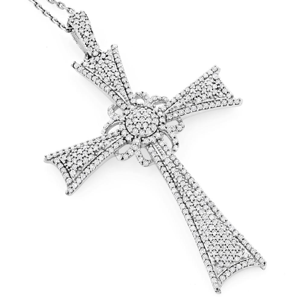 Designer Diamond Cross Pendant 14K 1.31ct