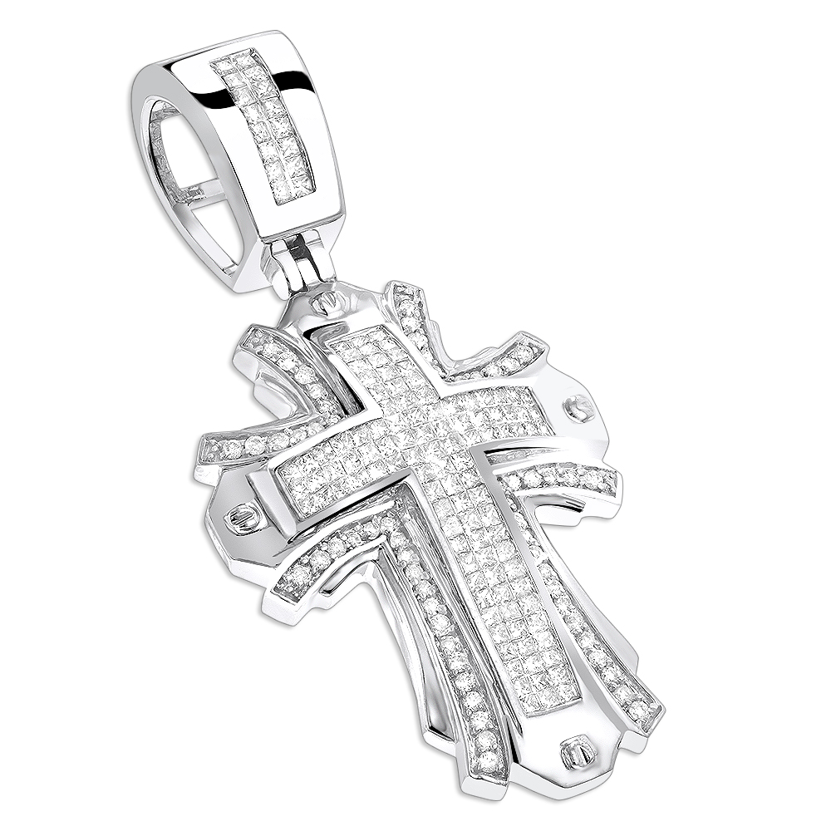 Designer Diamond Cross Pendant 2 ct 14K Gold