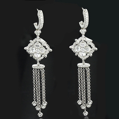 Designer Diamond Dangle Earrings 1.68ct 18K Gold