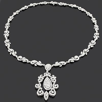 Designer Diamond Drop Necklace 16.78ct 18K Luccello Jewelry