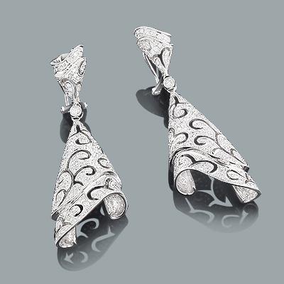 Designer Diamond Earrings 5.68ct 18K Gold