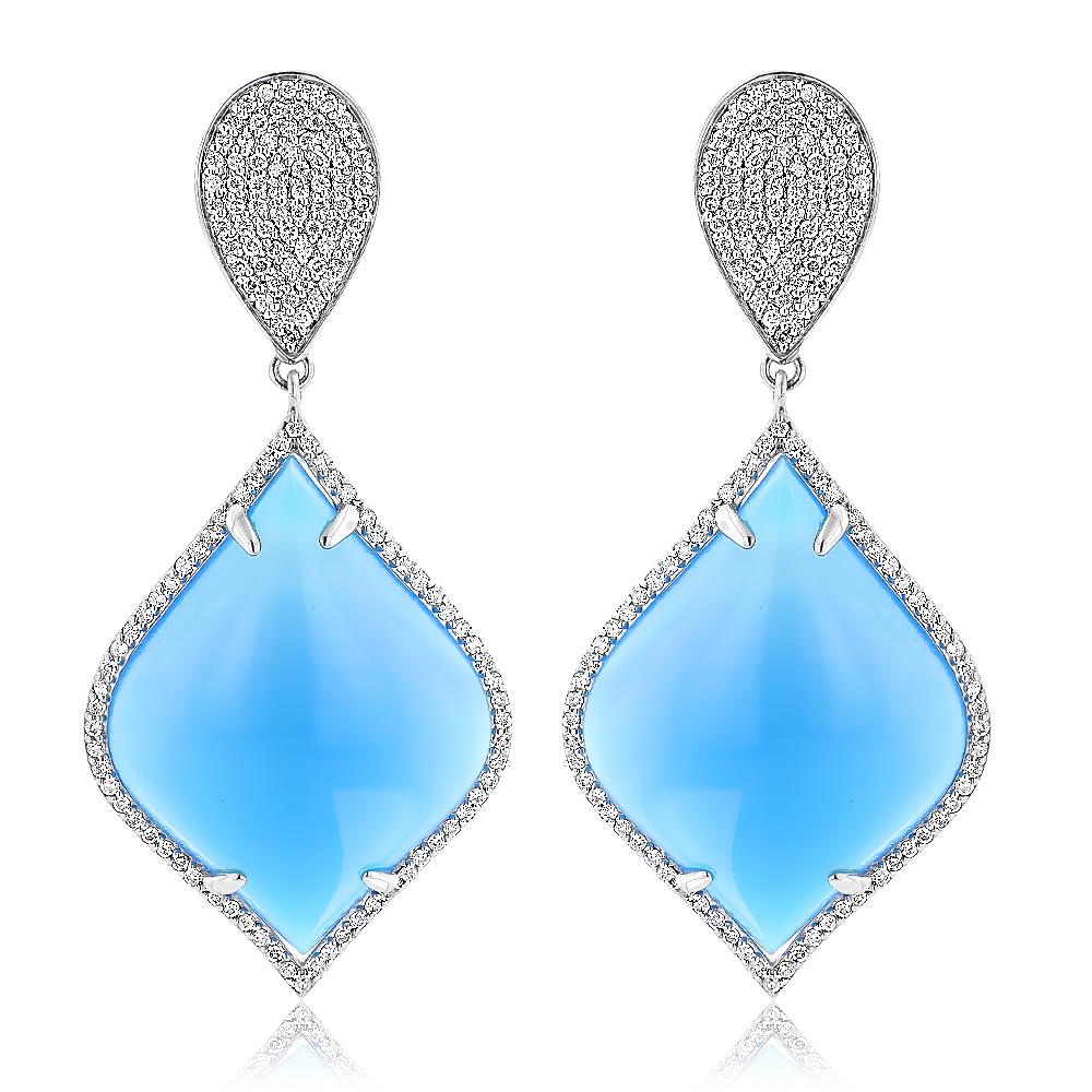 Designer Diamond Earrings: Blue Onyx Diamond Drop Earrings 1.4ct 18k Gold