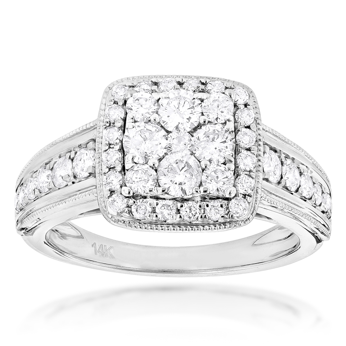 Designer Diamond Engagement Ring 1.29ct 14K Gold