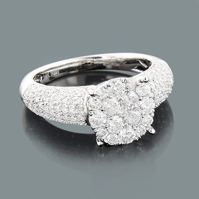 Designer Diamond Engagement Ring 1.38ct Cluster Rings
