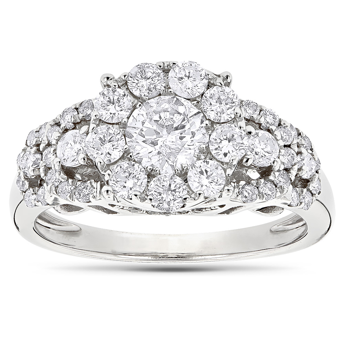Designer Diamond Engagement Ring 1.61ct 14K Gold