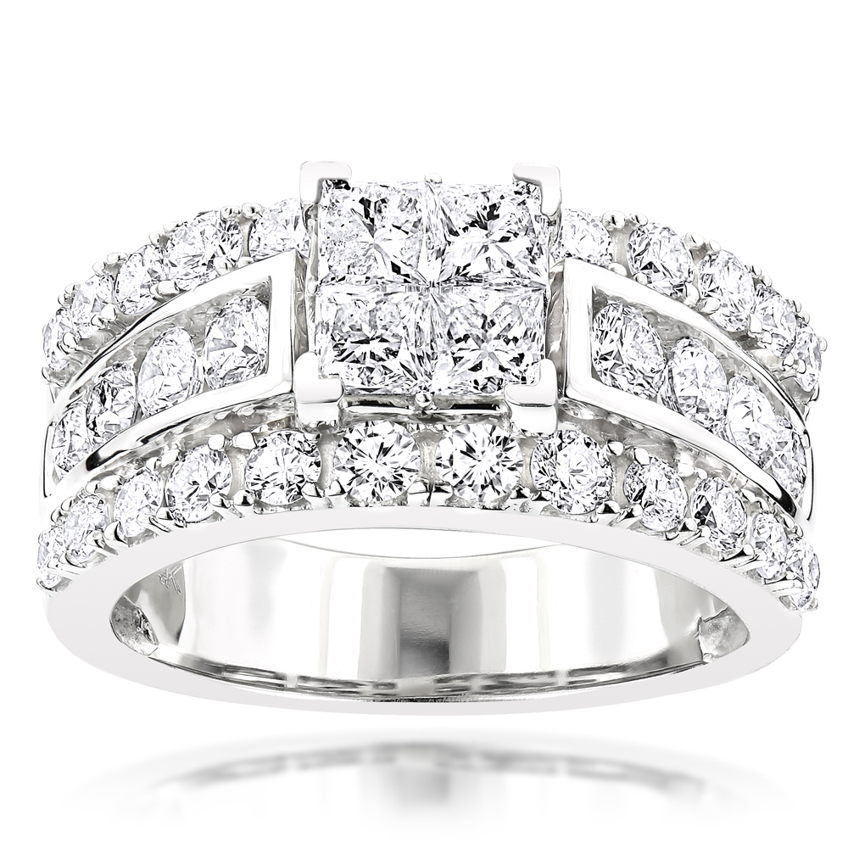 Designer Diamond Engagement Ring 2.99ct 14K Gold