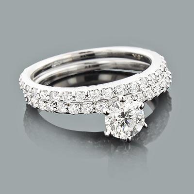 Designer Diamond Engagement Ring Set 1.78ct 18K White Yellow Rose Gold
