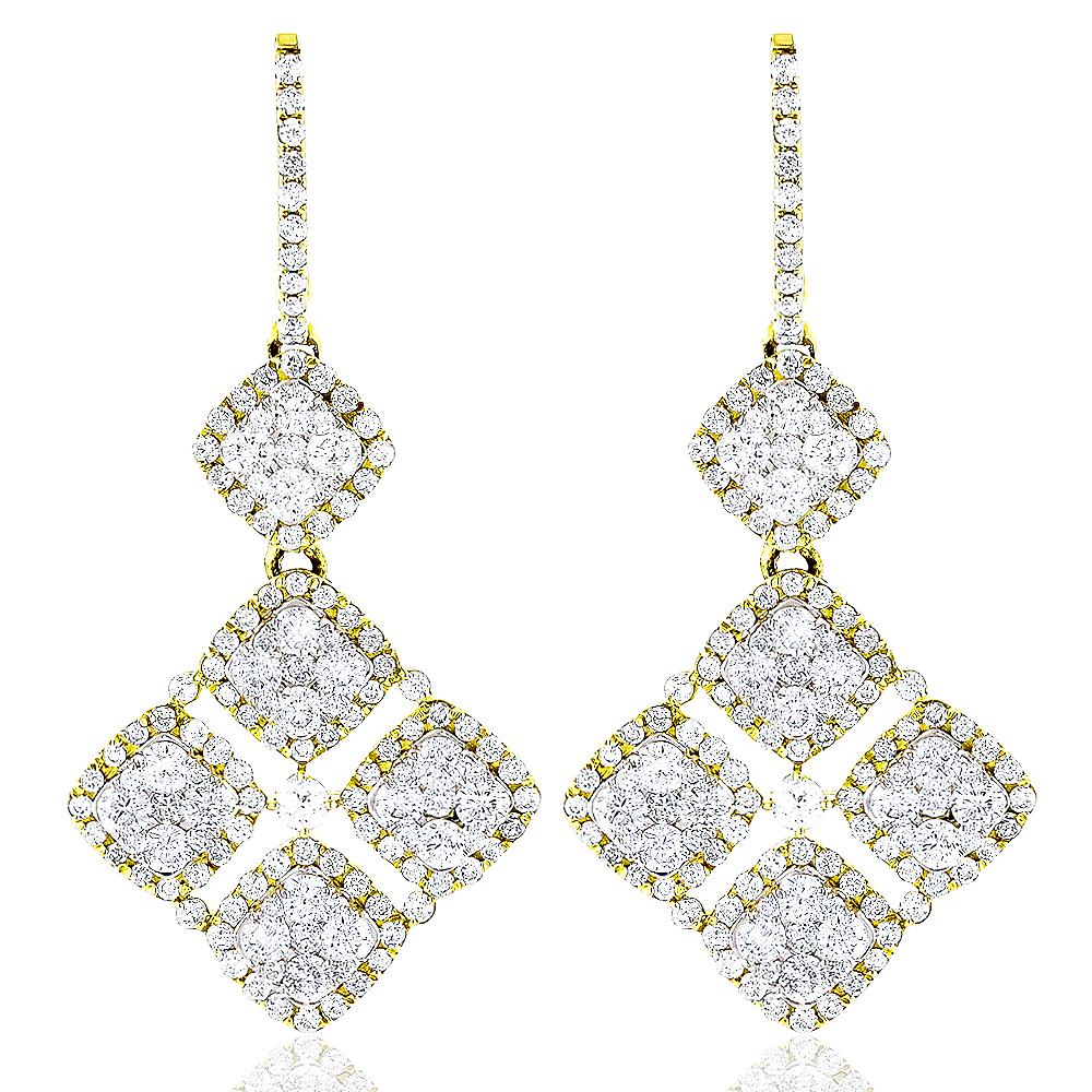 Designer Diamond Floral Earrings 14K 4.29ct