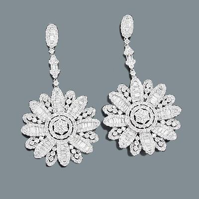 Designer Diamond Flower Earrings 10.14ct 18K Gold