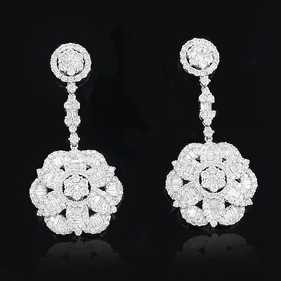 Designer Diamond Flower Earrings 5.84ct 18K Gold