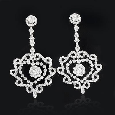 Designer Diamond Flower Heart Earrings 7.87ct 18K Gold