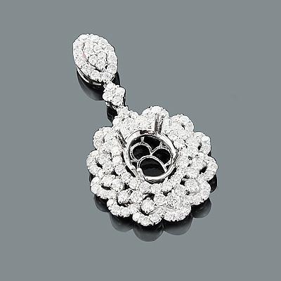 Designer Diamond Flower Pendant Semi Mount 3.01ct 18K Gold