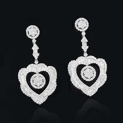 Designer Diamond Heart Drop Earrings 6.72ct 18K Gold