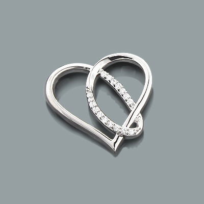 Designer Diamond Heart Pendant 0.12ct 10K Gold