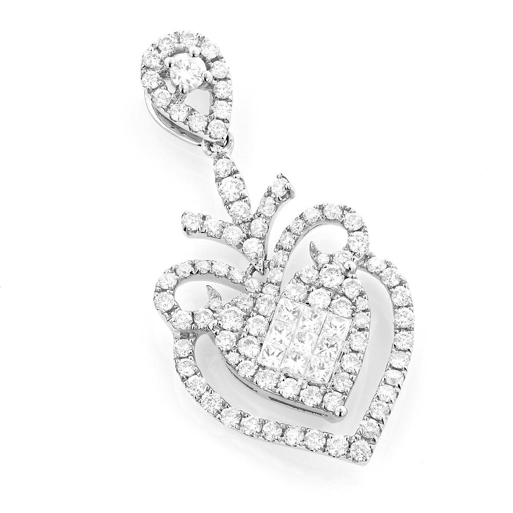 Designer Diamond Heart Pendant 1.7ct 14K Gold