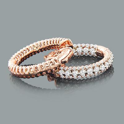 Designer Diamond Hoop Earrings 14K Rose Gold 2.95ct Inside Out