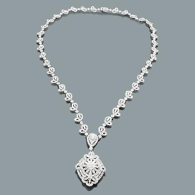 Designer Diamond Jewelry: Floral Necklace 11.22ct 18K Gold