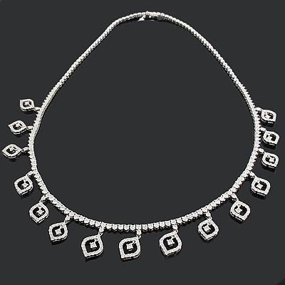 Designer Diamond Leaf Necklace 8.24ct 18K Gold