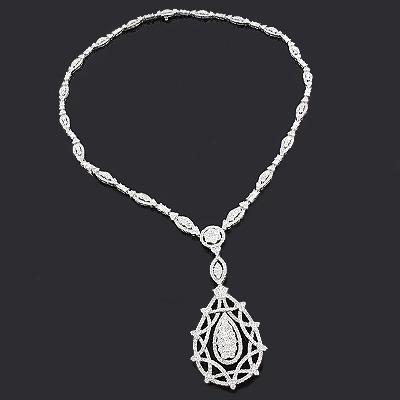 Designer Diamond Pendant Necklace 14.21ct 18K Gold