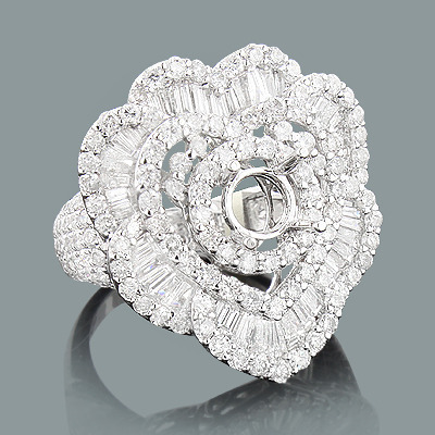 Designer Diamond Ring Mounting 3.62ct 18K Heart Shaped Rings