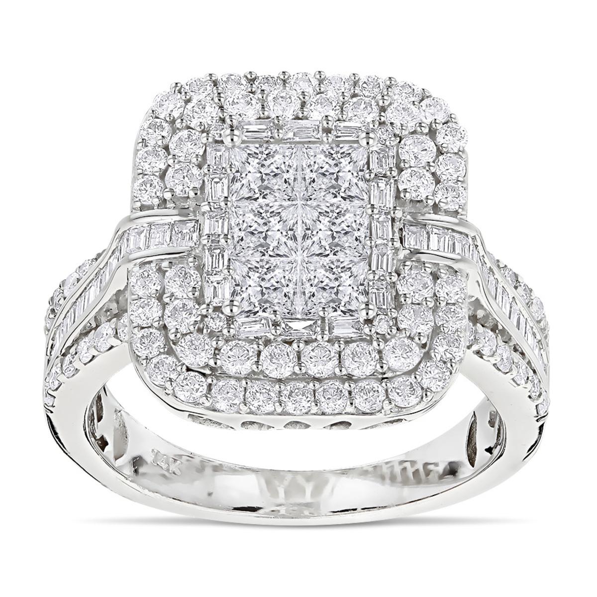 Designer Diamond Rings 14K Gold Diamond Ring 2.40ct