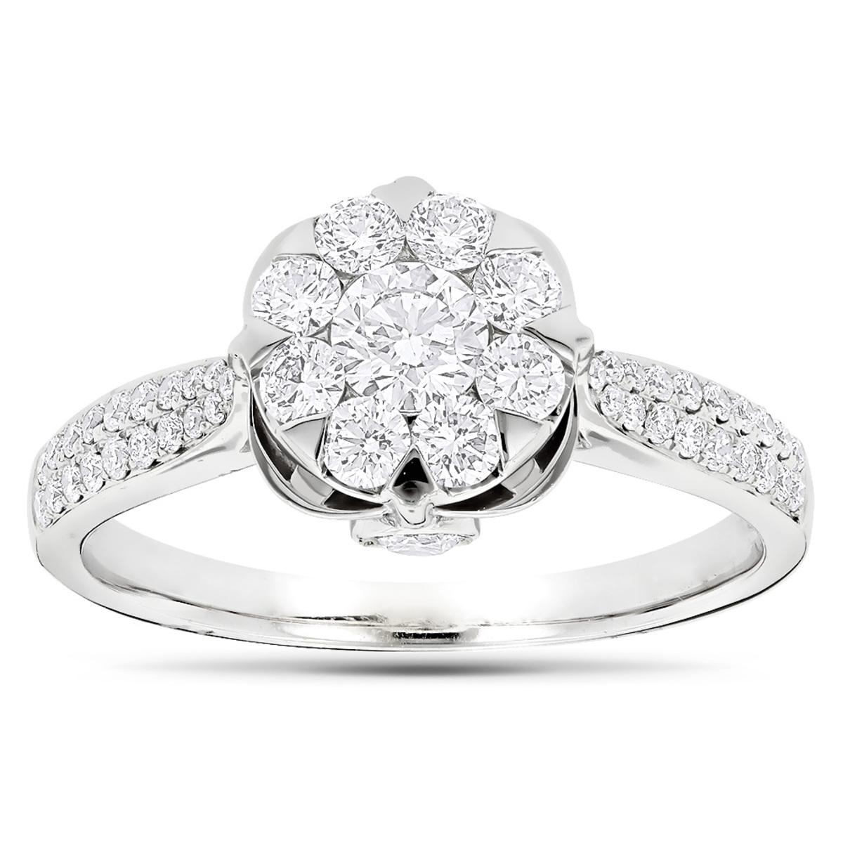 Designer Diamond Rings 18K Gold Luccello Engagement Ring 1.2ct