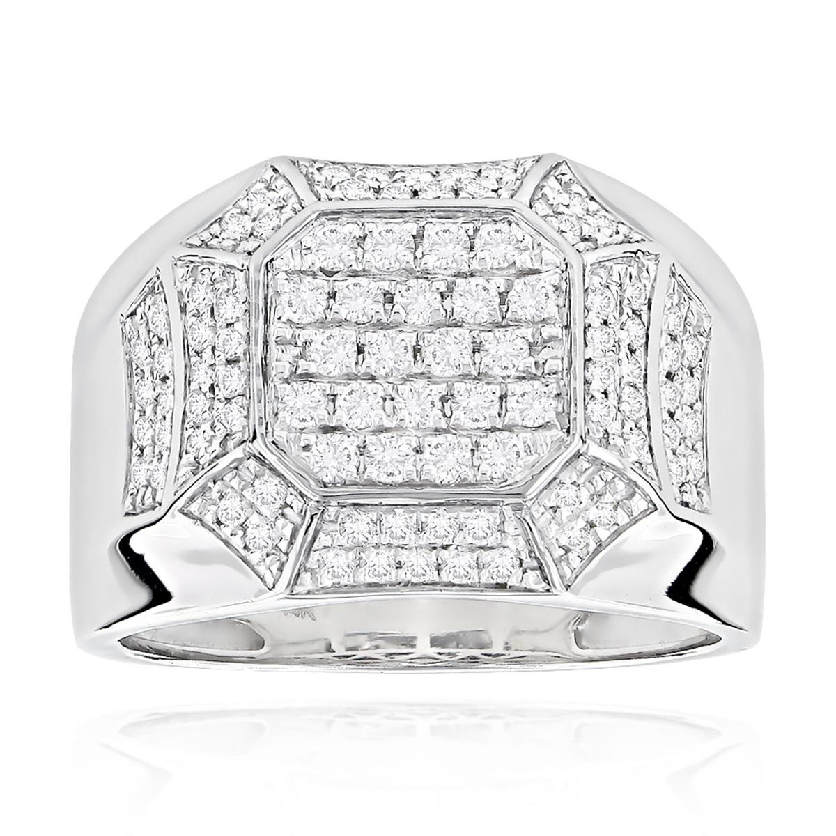 Designer Diamond Rings For Men by Luxurman 14k White Gold