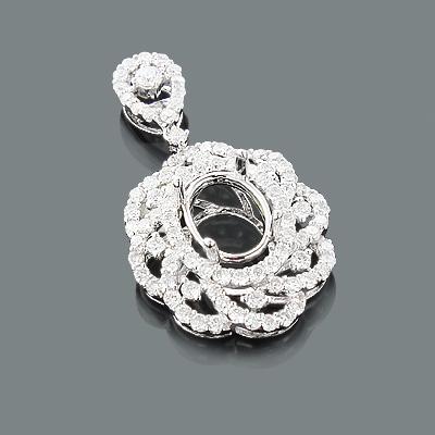 Designer Diamond Semi Mount Pendant 1.12ct 18K Flower Jewelry