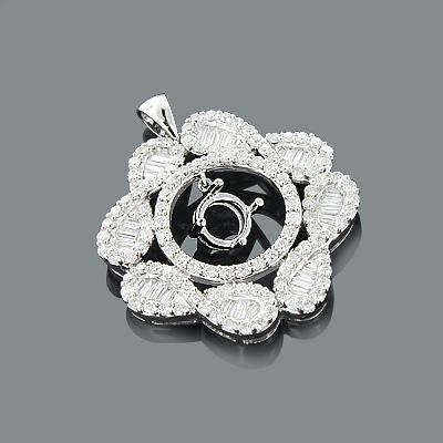 Designer Diamond Semi Mount Pendant 2.44ct 18K Flower Jewelry