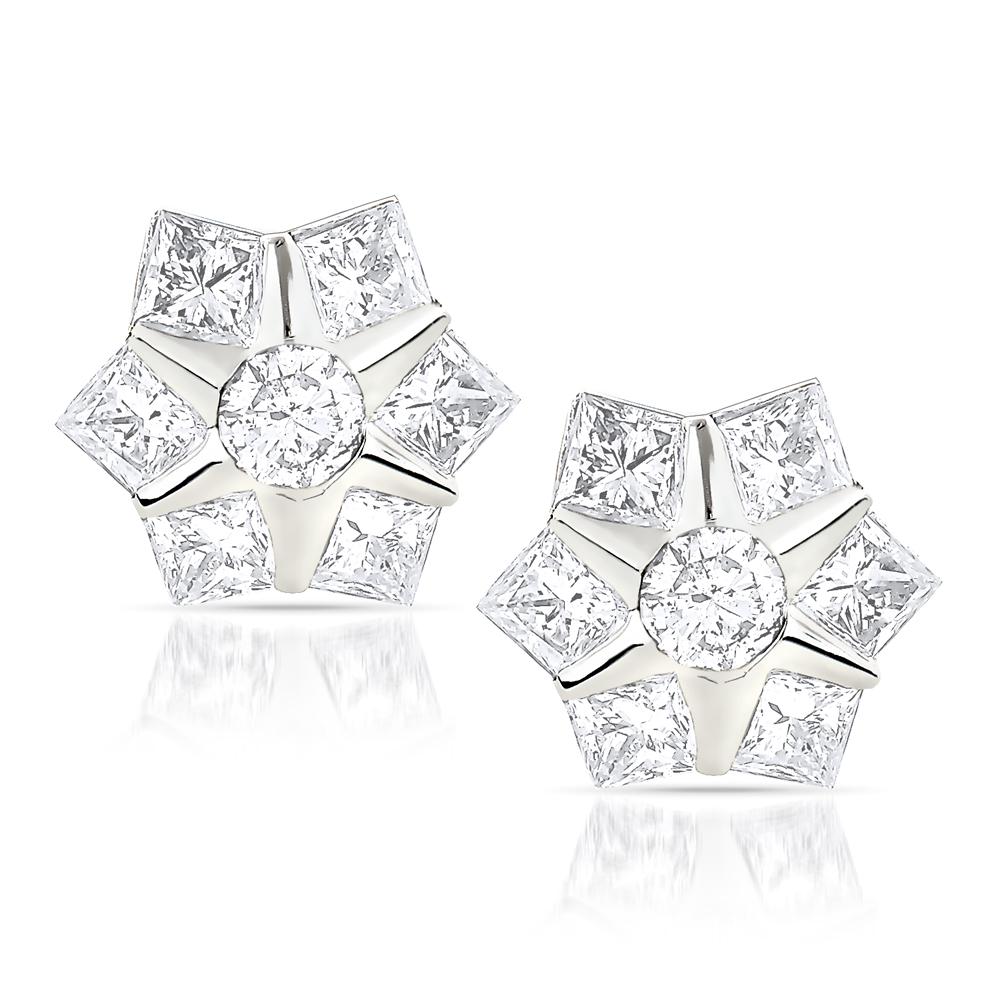 Designer Diamond Stud Earrings 0.78ct 10K Gold Stars