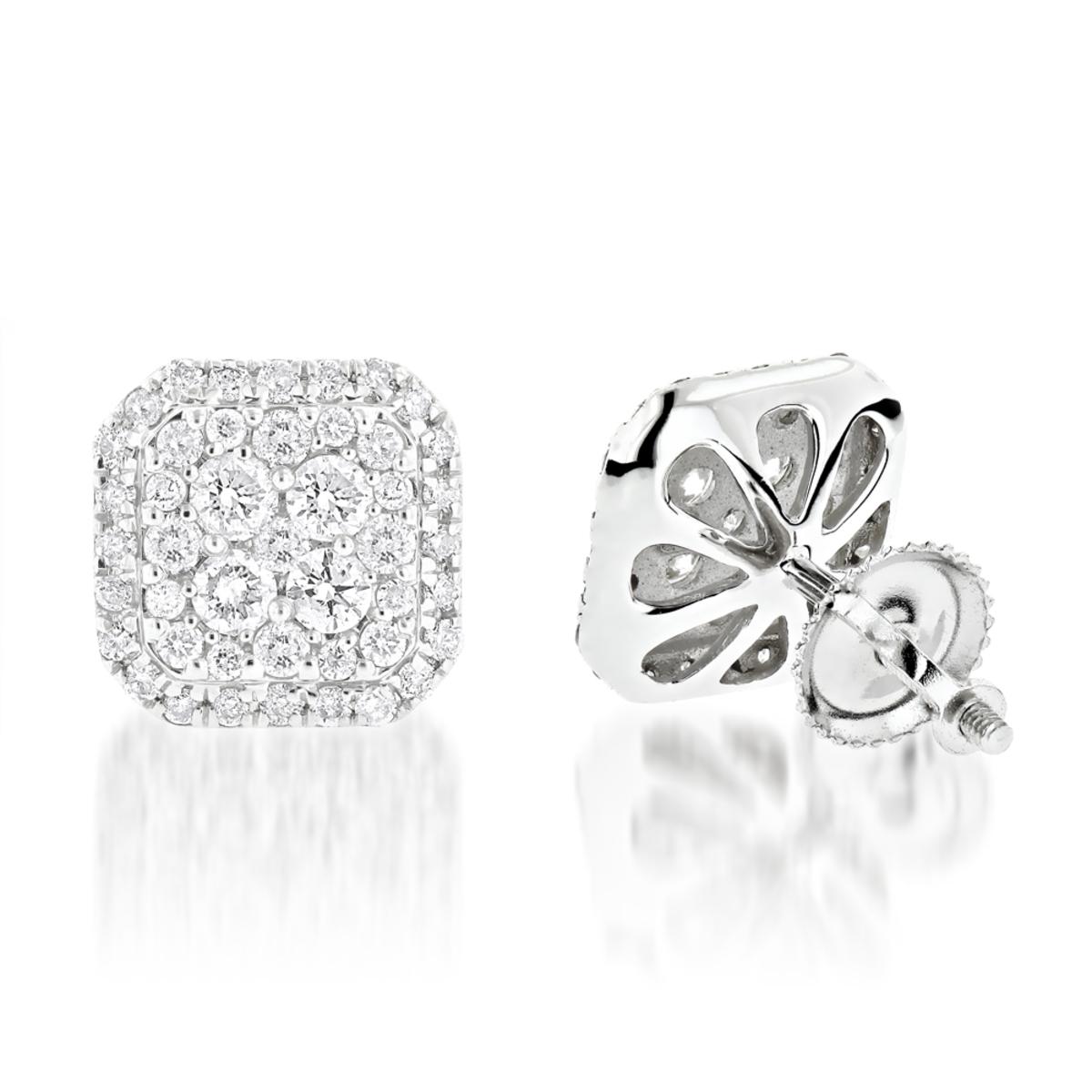 Designer Diamond Stud Earrings 1.21ct 14K Gold