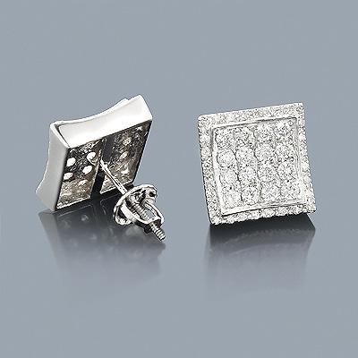 Designer Diamond Stud Earrings 14K 1.28ct