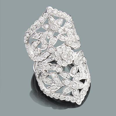 Designer Flower Rings: Gold Diamond Fashion Ring 2.90ct 14K
