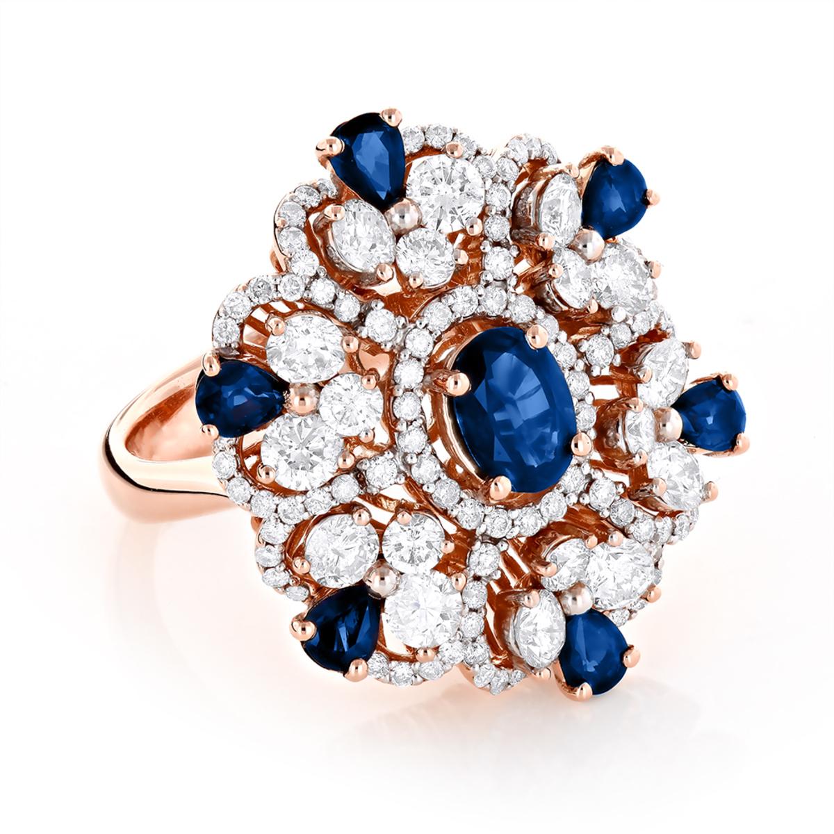Designer Gemstone Jewelry: Unique Ladies Diamond and Sapphire Ring 18K Gold