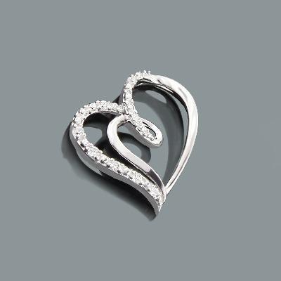 Designer Gold Diamond Heart Pendant 0.12ct 10K