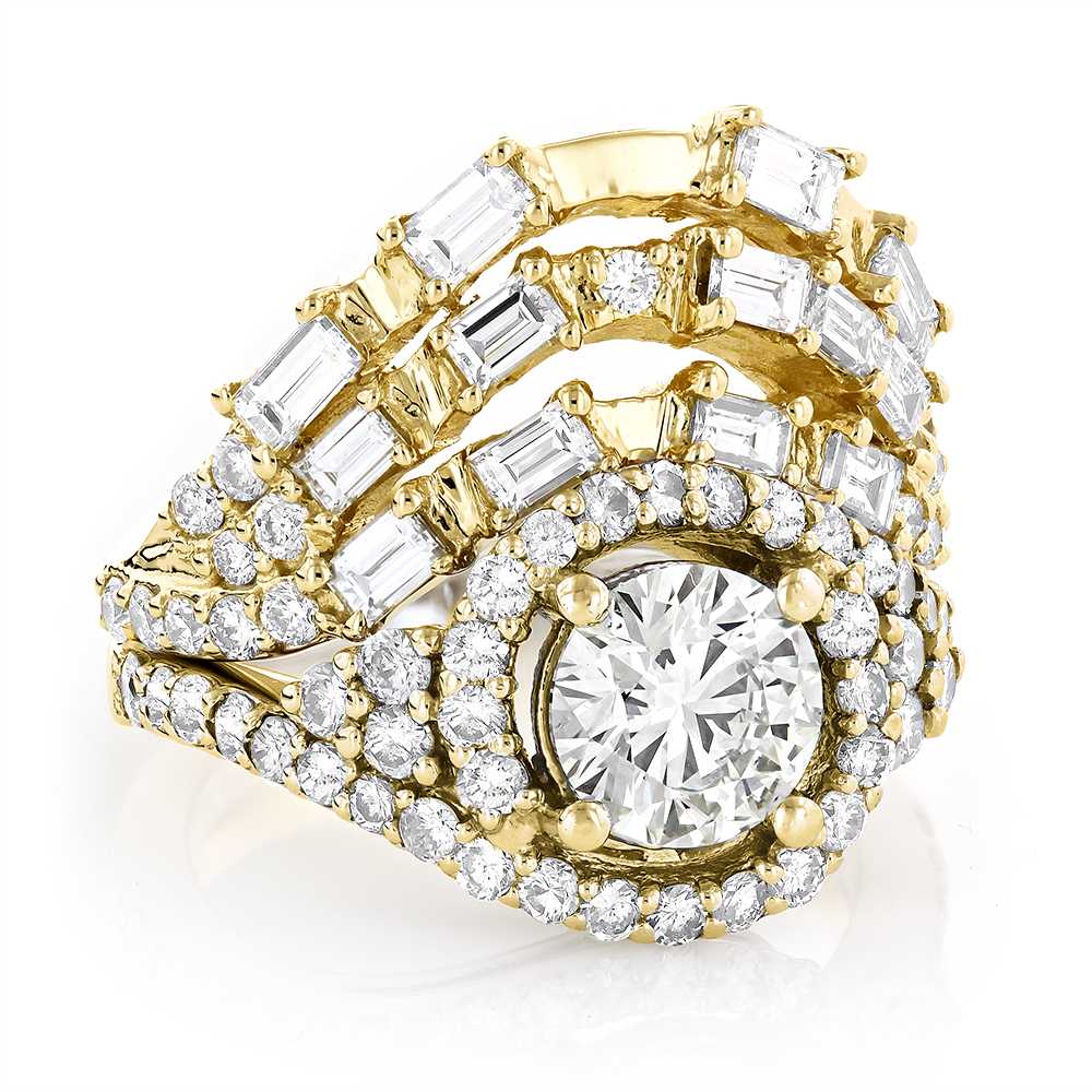 Designer Halo Diamond Engagement Ring Set 3ct 14K Gold Trigram I Ching